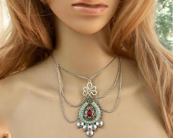Beaded Boho Jewelry, Beaded  Boho Necklace, Silver Chain Jewelry, Silver Chain Necklace, Gold Chain Jewelry, Gold Chain Necklace