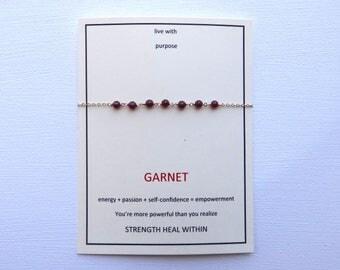 Garnet gold filled centered gem bracelet