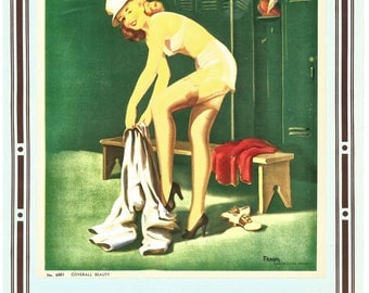 Art Frahm Coverall Beauty Pin-up Litho Print 1950