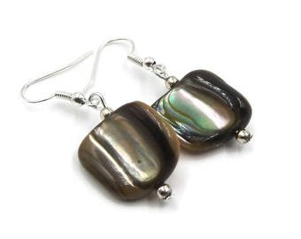 Abalone Drop Earrings | Shell Dangle Earrings | Recycled Beads Vintage Style Silver Plated Retro Jewelry
