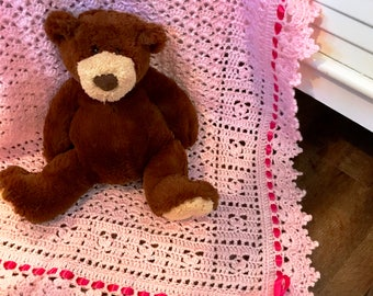 Baby blanket crochet, Pink Rosebud Design, soft baby yarn, FREE USA shipping, baby shower gift, baby afghan blanket, newborn