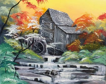 Original Acrylic Painting Watermill Landmark in West Virginia autumn landscape fall scene babbling brook creek forest trees woods river