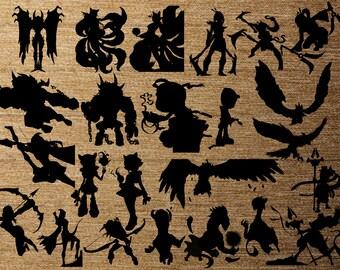 League of Legends 24 pk PNG Silhouettes for Decals Cricut (Digital Download)