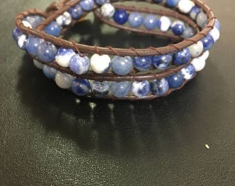 Multi Blue Wrap Bracelet