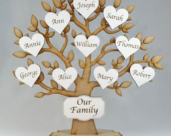 Personalised Freestanding Family Tree, Family Tree, Grandchildren Tree, Personalised Tree, Family Gift,Wedding Gift, shabby chic