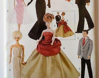 Vogue Craft 9894 Barbie and Ken Doll Pattern Vintage Retro 1950s Era Glamour Evening Wear One Size Uncut