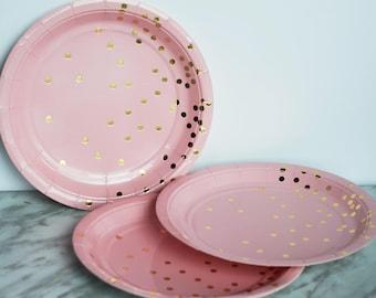 Pink and Gold Polka Dot Paper Plates