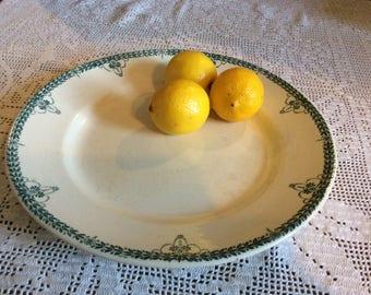 French Antique Longwy Platter 1900's, faience, transferware, terre de fer, ceramic, porcelain, vintage