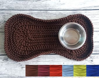 """SIZE L - Crochet """"Bone"""" Feeding Mat / Placemat for Cats/Dogs / Gift For Pets And Their Lovers. Made To Order"""