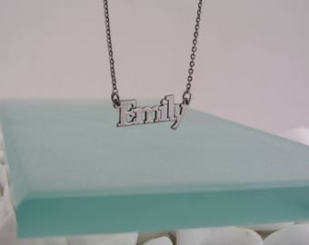 Emily name necklace, silver 925, black plated