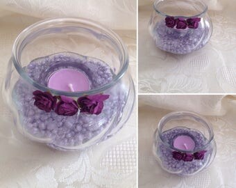 Pretty Purple Bowl Tea Light Holder - Gift Boxed