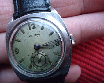 ARCADIA WWII vintage watch-RARE