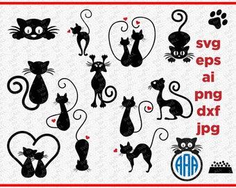 Cat SVG, Cats Silhouette Digital Clipart , DXF, Monogram Frame SVG, cutting files, Instant Download, Black Silhouette Clip art, Cricut files