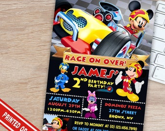 ON SALE 30% Mickey and The Roadster Racers Invitation - Mickey and The Roadster Racers Birthday Party - Mickey and The Roadster Racers
