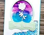 Watercolour and rose aperture handmade birthday card - dimensional card for woman - 3D card - artist greeting card - striking card