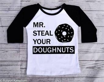 Mr Steal Your Doughnuts Toddler Shirt, Toddler Shirts, toddler tshirt, toddler boy clothes, toddler raglan shirt, raglan tee, kids raglan