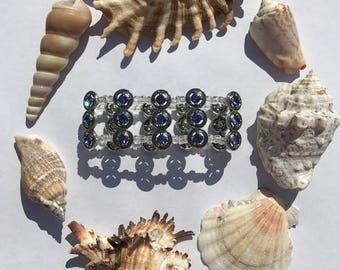 Wide Crystal Blue Bracelet
