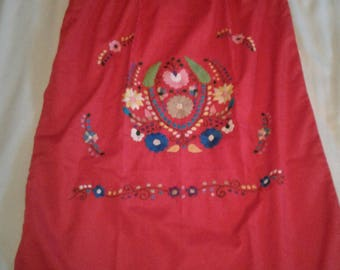 Medium - Red (Regular Length / Below Knee) Mexican Dress #R103