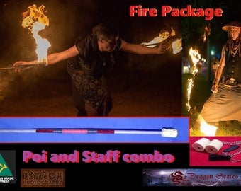 Fire poi and Fire staff combo twirling spinning package deal. (matching grip and highlight series)