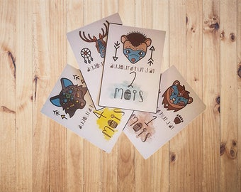 Carte tape b b lot de 12 cartes de 1 12 mois - Carte etape bebe a imprimer ...
