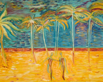 """Walk in paradise Cuba Lovers Always together Finger painting Original art Oil painting on canvas, couple of lovers 27""""x47"""""""