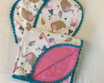 Pink/ White/Teal Jungle Animals Flannel receiving blanket