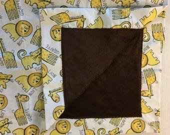 Brown/White/Yellow Safari Animal baby blanket