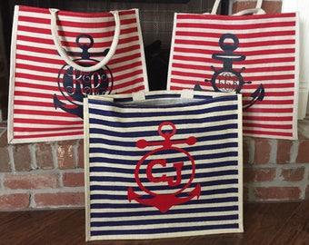 Personalized Burlap Tote / Large Beach Bag