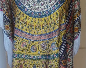 Yellow printed silk tunic