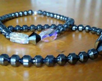 Hematite and Swarovski Crystal Bracelets Set