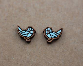 Mint blue wooden origami bird earrings - bird studs, wooden jewelry, wooden jewellery, handmade earrings, origami studs