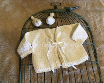 Unique baby gift - Hand knit sweater - infant sweater -  ivory knit - baby blessing boy - baby fashions - newborn sweater -