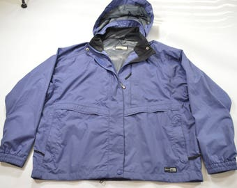 REI Elements Water Resistant Hooded Rain Coat Womens XL Blue Purple Hiking