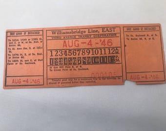 1946 New York Transit Ticket / August 4, 1946 / Williamsbridge Line, East