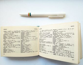 Vintage Pocket Dictionary French-Spanish / Retro Vocabulary Book / 1973 Made in Spain