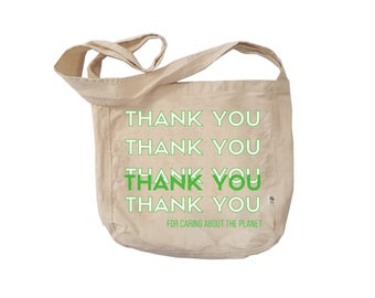 Farmer's Market Tote Bag. Reusable Organic Cotton Canvas Bag. Eco Friendly Market Canvas Tote. Green Thank You Tote Bag