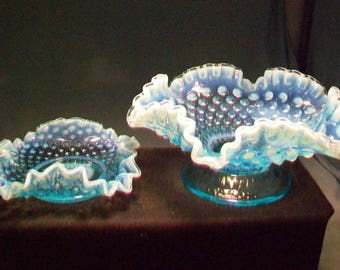Two Fenton Blue Opalescent Hobnail Dishes