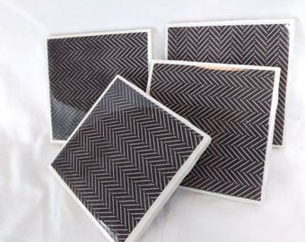 Modern Minimalist Black-and-White Modge Podge Scrapbook Paper Handmade Ceramic Tile Coasters - Waterproof and Heat-resistant