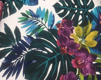 Tropical Monstera Jungle fabric, 1/2 metre, largescale leaves, cushions, lampshades, upholstery