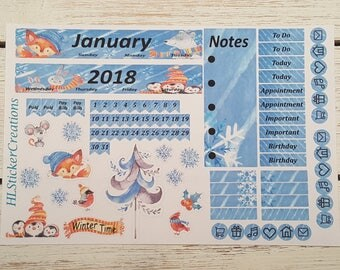 Mini Happy Planner January Monthly Kit, Winter, Snow, Friends, January, Winter