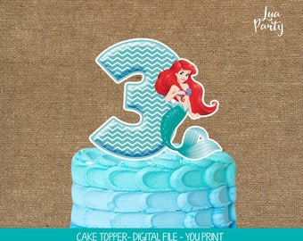 Little Mermaid cake topper print yourself, Little Mermaid birthday centerpiece, Little Mermaid birthday decor, Little Mermaid cake decor