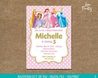 Pink and Gold Glitter Princess invitation print yourself, Pink and Gold Princess birthday invitation, Pink and Gold Princess invitation