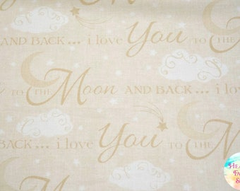 Timeless Treasures I Love You To The Moon Words Cotton Fabric