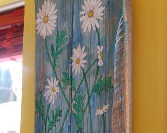 Daisy Flower Floral Painting on wood Handmade Original