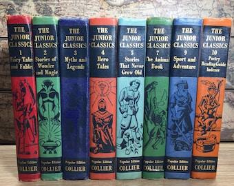 The Junior Classics Books Lot Of 8 (1,2,3,4,5,7,9,10)-1957, 1938,1948 Colliers