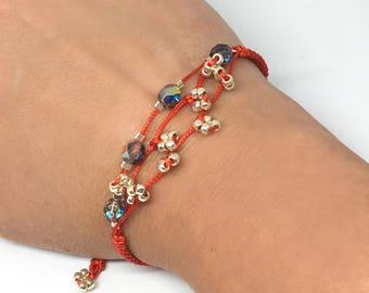 Macrame, silver and Czech glass beaded, cord, bracelet