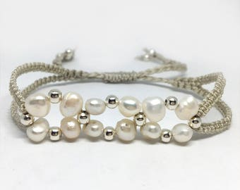 Macrame, silver beaded and freshwater pearl, woven, cord bracelet