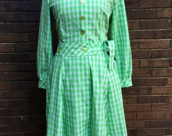 Flutterbye 60s green and white gingham dress checkered vintage button down pleated flared union made