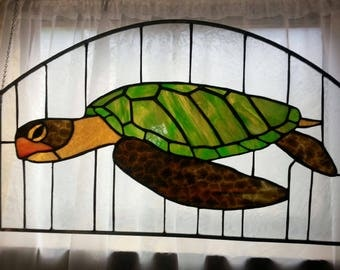 "Stained Glass Window Panel ""Sea Turtle"""