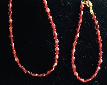 Bracelet and Anklet Set, Garnet Color